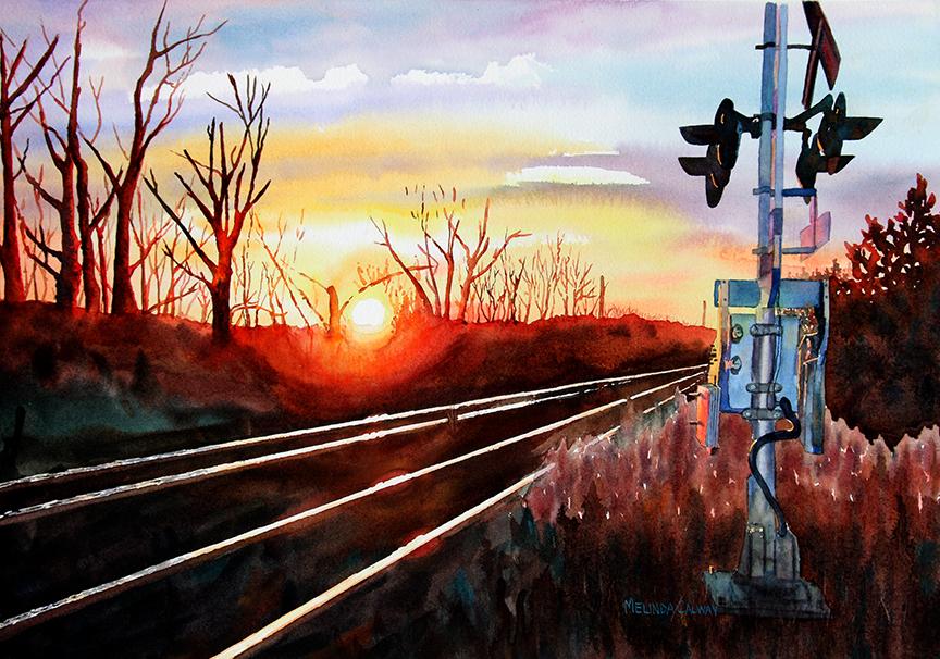 "Sunset on The Tracks 17"" x 12"""